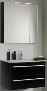 Waschtisch 81 cm SoftClose Glasbecken Waschplatz LED Spiegelschrank *2011-Jol-2T