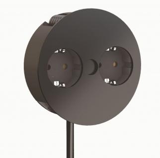 Küchensteckdose TWIST 2 fach Einbausteckdose schwarz, weiß für Arbeitsplatte