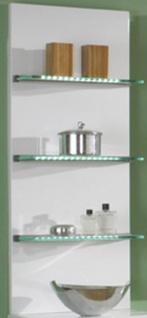 LED Wand Badregal 35 x 92 x 20 cm Badezimmerregal 3 Glasboden beleuchtet *40995