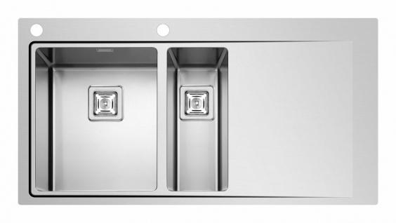 Große Küchenspüle Edelstahl Einbauspüle 100 cm Hahnloch Gastro-Spüle *Olyn-1.5