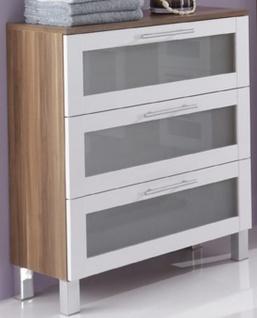 Unterschrank 67 x 82 x 32 cm Badezimmer Möbel 3 Schubladen Badschrank *US3-Elan