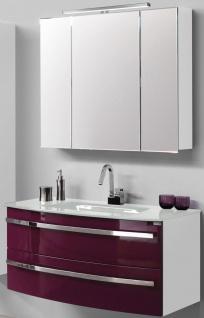 Waschplatz 111cm SoftClose Glasbecken LED Spiegelschrank Badset *2002-Dan-111-GB - Vorschau 1