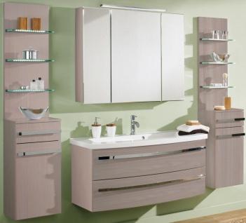 6 Teile Badmöbel Set komplett Waschplatz 112 cm LED Spiegelschrank Badset *6001