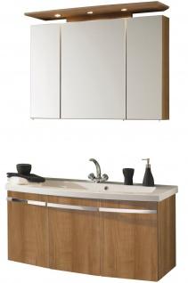 2 tlg Waschplatz 112 cm LED Spiegelschrank Badset Badmöbel Waschtisch *Bingo-100