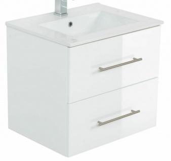 Waschplatz 60 - 140 cm Keramikbecken Schublade SoftClose Hochglanz *Holi-WP-W - Vorschau 1
