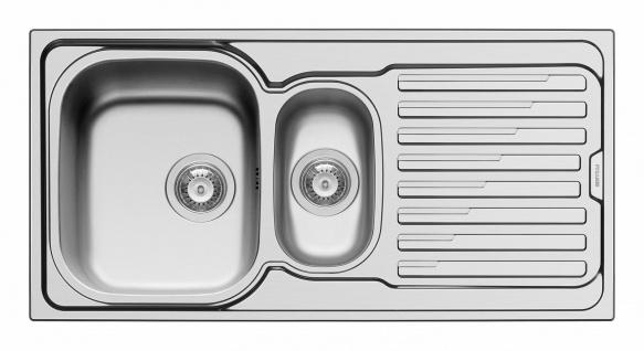 Küchenspüle 100 cm Einbauspüle Leinen Edelstahl Restebecken Hahnloch *Amal-1.5