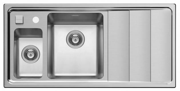 Moderne Küchenspüle 100 cm Edelstahl Einbauspüle 1, 5 Spülbecken Hahnloch *Studio