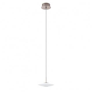 Eglo 94424 Milea 1 LED Hängeleuchte 1 x 45 W Stahl Nickel-Matt Glas Weiß lackiert