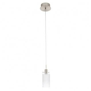 Eglo 94453 Melegro LED Hängeleuchte 1 x 6 W Stahl Nickel-Matt Glas satiniert Weiß klar