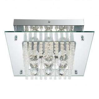 Elena Deckenleuchte LED quadratisch 1040lm Chrom K5 Kristalle Klar