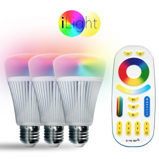 Starter-Set 3x E27 iLight LED + Fernbedienung RGB+CCT LED Leuchtmittel Lampe 1