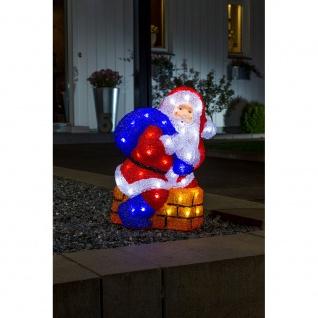 LED Acryl Weihnachtsmann mit Schornstein 48 kaltweisse Dioden 24V Außentrafo