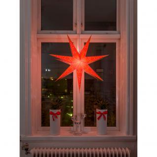 Konstsmide 2982-185 Oranger Papierstern, perforiert und orange bestickt, 7 Zacken, inkl. Anschlusskabel mit an/aus Schalter, ohne Leuchtmittel, E14 Lampenhalterung für Innenbereich