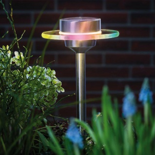 LED Solarspieß Special Line Ufo RGB Edelstahl Solar Gartenlampe Gartenleuchte