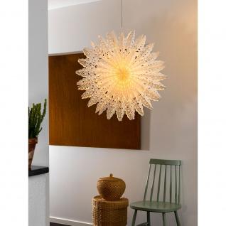 Konstsmide 2937-200 Weißer Papierstern inkl. Anschlusskabel mit an/aus Schalter ohne Leuchtmittel E14 Lampenhalterung für Innenbereich
