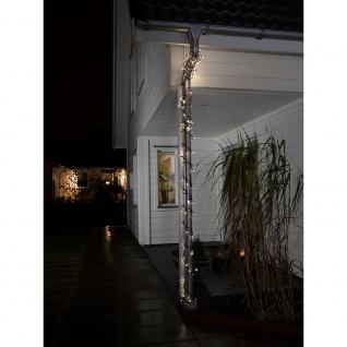 Konstsmide 4585-117 LED Lichterkette mit Lauflicht und verlängertem Steg: 4cm 120 warmweisse Dioden 24V Außentrafo schwarzes Soft-Kabel