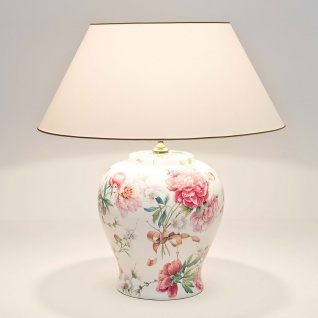 Holländer 014 K 1254 Tischleuchte Rosengarten Keramik Altrosa-Grün- Weiß