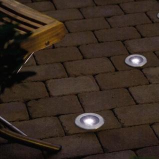 Solar LED Bodenspot Edelstahl, klares Glas Solar Gartenlampe Gartenleuchte
