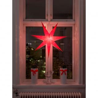 Konstsmide 2982-550 Roter Papierstern perforiert und rot bestickt 7 Zacken inkl. Anschlusskabel mit an/aus Schalter ohne Leuchtmittel E14 Lampenhalterung für Innenbereich