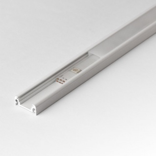2m Aufbau-Aluprofil-Set für LED-Strips / Abdeckung matt / Alu Weiss lackiert