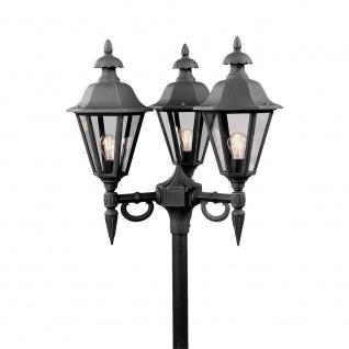 Konstsmide 528-750 Pallas Leuchtenkopf 3-tlg. für Mastleuchte Schwarz rauchfarbenes Acrylglas