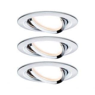 Paulmann Einbauleuchten-Set Nova rund schwenkbar LED 3x6, 5W 2700K GU10 Chrom 93434