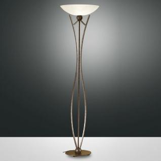 Fabas Luce 2498-10-171 Devon Stehleuchte 183cm mit Dimmer & Glasschirm Rostfarbig Scavodekor