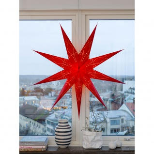 Konstsmide 2974-500 Roter Papierstern perforiert 9 Zacken inkl. Anschlusskabel mit an/aus Schalter ohne Leuchtmittel E14 Lampenhalterung für Innenbereich