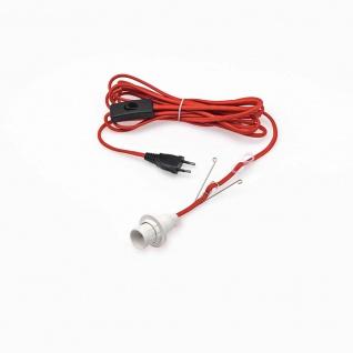 Anschlusskabel für Papiersterne rote Textilschnur 5m Kabellänge weiße E14 Lampenhalterung für Innen