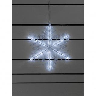 LED Acryl Schneeflocke mit Timer 24 Kaltweiße Dioden batteriebetrieben für Aussen