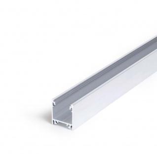 Aufbauprofil tief 200cm Alu-roh ohne Abdeckung für LED-Strips