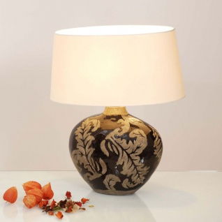 Holländer 057 K 1209 Tischleuchte Toulouse Oval Keramik Glasiert Schwarz-Schlamm