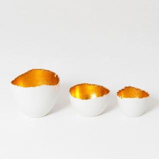 Holländer 249 3514 W Windlicht-Set 3-tlg. Venato Metall Weiß-Gold