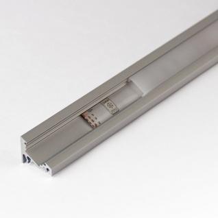 2m Eck-Aluprofil-Erweiterungsset für LED-Strips Abdeckung klar Alu natureloxiert