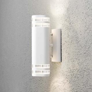 Konstsmide 7516-250 Modena Aussen-Wandleuchte mit doppeltem Lichtkegel Weiß klares Acrylglas Reflektor