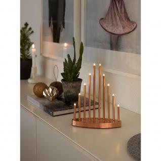 LED Metallleuchter kupferfarben lackiert klein 10 Warmweiße Dioden 3V Innentrafo