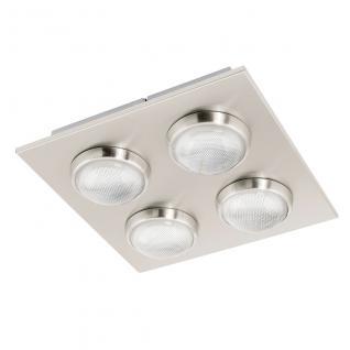Eglo 94298 Lombes / LED Deckenleuchte / 4 x 45 W / Stahl Alu Nickel-Matt Kunststoff klar