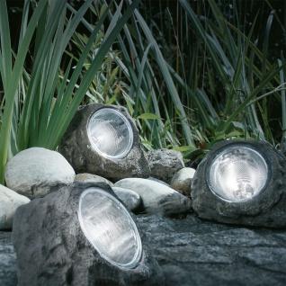 3er-Set LED Garten Solarsteine Grau Solar Gartenlampe Gartenleuchte