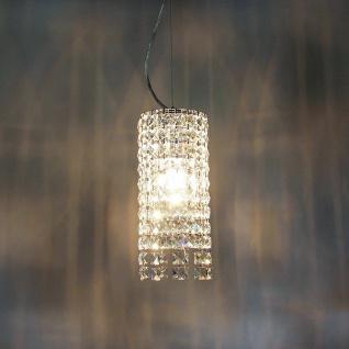 s.LUCE Glint / Hängeleuchte mit Kristalle Ø 14 cm / Chrom / Hängelampe
