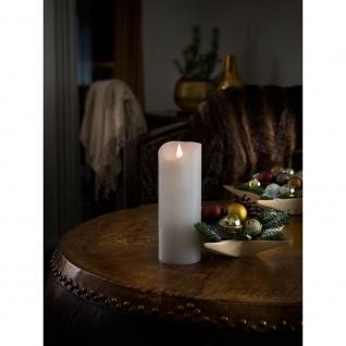 LED Echtwachskerze weiß mit 3D Flamme 20, 5cm Timer Warmweiß batteriebetrieben für Innen