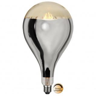 E27 LED Retro-Tropfen Kopfspiegel Silber 400lm Warmweiß dimmbar