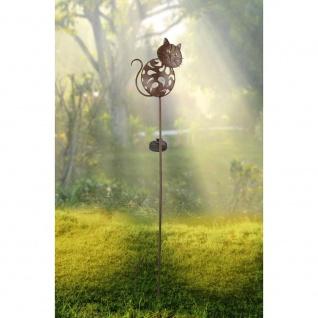 LED Solarlampe Katze 89cm mit Glaskugel Rostfarben Gartenlampe Gartenleuchte