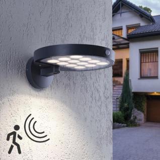 Solar LED Außenwandlampe Markus mit Sensor IP44 Anthrazit Solarlampe