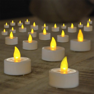 24er-Set warmweiße LED Teelichter in Aufbewahrungsbox Kerzen mit Flackereffekt