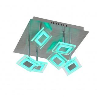 Wofi 9098.07.54.6000 LED Deckenleuchte 7-flammig + Fernbedienung 6 x 350lm Nickel-Matt