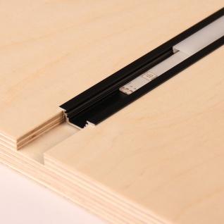 2m Einbau-Aluprofil-Set für LED-Strips Abdeckung matt Alu Schwarz eloxiert