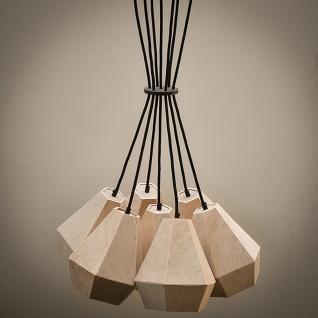 Almleuchten H3 hexagonaler 7 flg. Hängelampe aus Altholz Hängeleuchte aus Holz