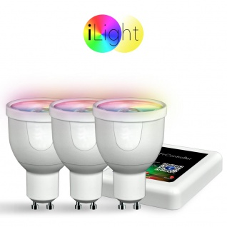 Starter-Set 3x GU10 iLight LED + WiFi-Box RGBW LED Leuchtmittel Lampe iPhone