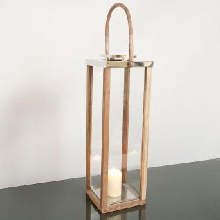 Holländer 240 3521 Laterne Mineraria Aluminium-Holz-Glas Natur-Silber