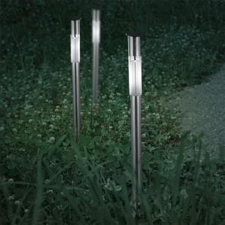 3er-Set LED Solarleuchte mit Spieß Edelstahl Solar Gartenlampe Gartenleuchte
